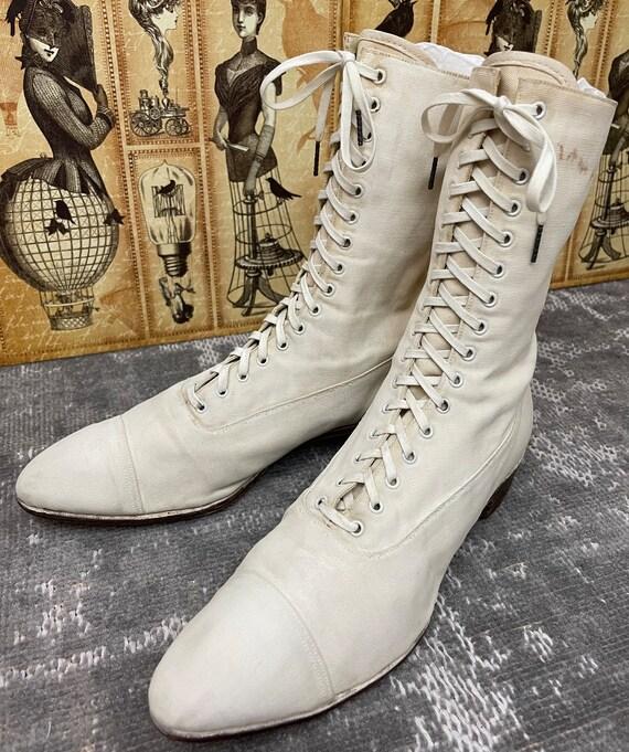 1910s Edwardian White Canvas Antique Boots Vintag… - image 1