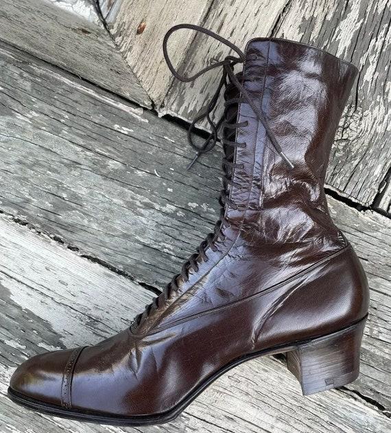 1910s True Antique Edwardian Granny Boots Brown L… - image 5