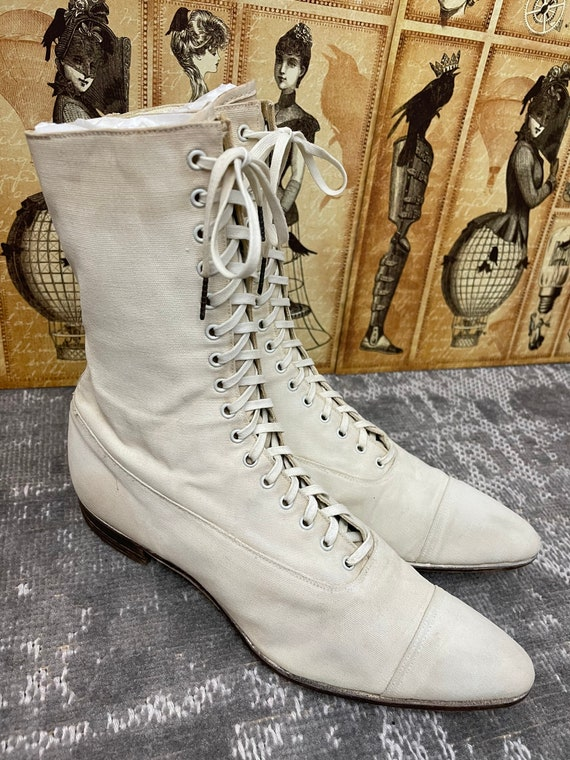 1910s Edwardian White Canvas Antique Boots Vintag… - image 3