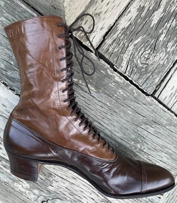 1910s True Antique Edwardian Granny Boots Brown L… - image 6
