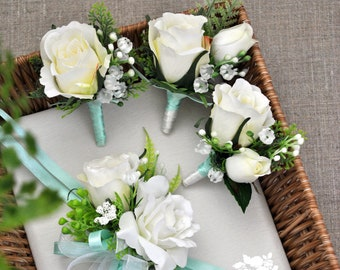 Mint blue-White  /  Boutonniere and Wrist Corsage