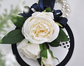 White Roses Wrist Corsage - Wedding corsage - Prom Corsage - Navy blue - Midnight Blue