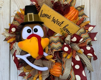 Fall Wreath, Fall Wreaths for Front Door, Turkey Wreath, Turkey Decor, Thanksgiving Day Wreath, Thanksgiving Wreath, Autumn Wreath