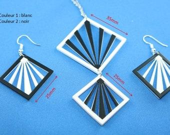 Earrings / rising sun pendant