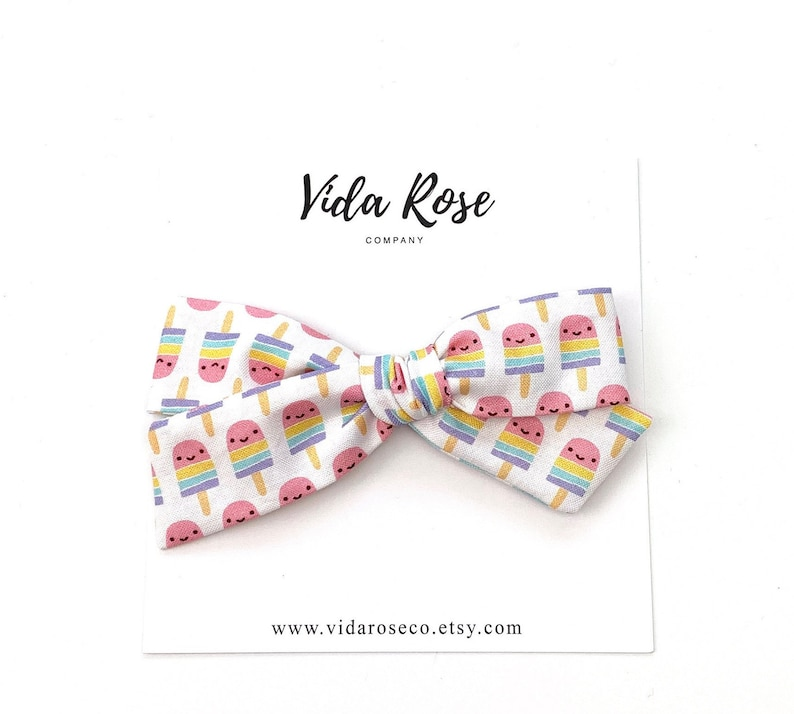 Summer Popsicle Hand Tied Bow  School Girl Hair Bow  image 0