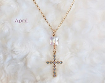 Birthstone Cross Necklace, Religious Necklace, Cross Necklace Women, Boho Cross Necklace, Gifts for Women, Gold Filled Necklace