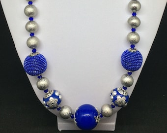 Royal Blue and Silver Stardust Necklace & Earrings Set