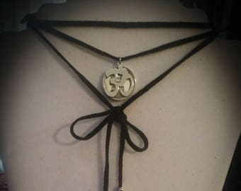 OM pendant choker necklace