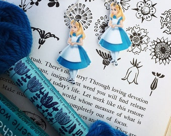 Alice in wonderland resin dangle earrings