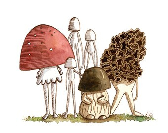 The Mushroom Squad--Original Watercolor and Ink Painting