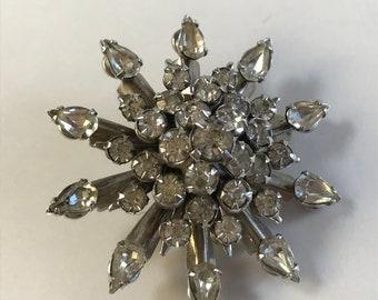 Crystal Snowflake Silver Tone Pin