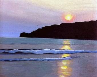 Beach Sunset Art Print San Juan del Sur Nicaragua Painting