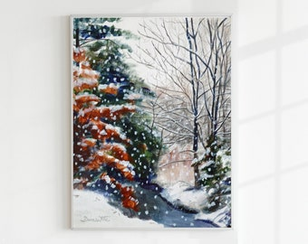 Winter Landscape Painting Forest Art Print Sterling Virginia