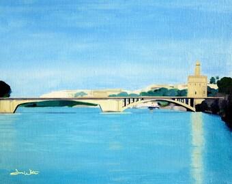 Seville Spain Art Print, Andalusia Painting, Torre del Oro, Guadalquivir River