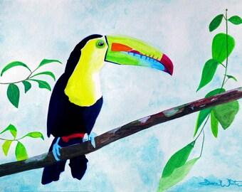 Toucan Painting, Tropical Bird Wall Art Print, Costa Rica Forest Art