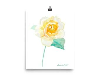 Orange Rose Painting Print, Orange Rose Art Print, Orange Rose Watercolor, Orange Rose Artwork, Orange Rose Print, Orange Flower Painting