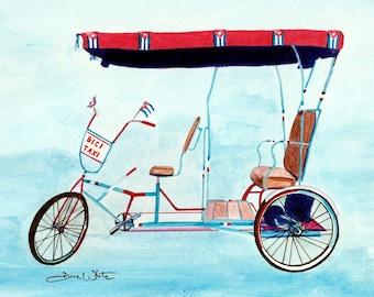 Bici Taxi Cuba Art Print Latin America Caribbean Painting