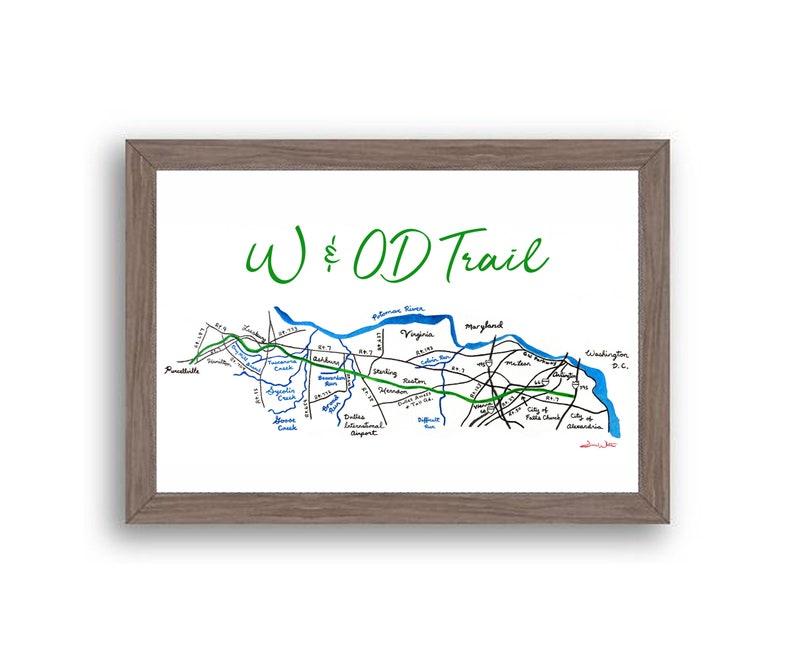 W&OD Trail Art Print Northern Virginia Dark Walnut