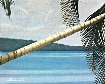 Caribbean Sea Art Print Palm Tree Cahuita Costa Rica Painting