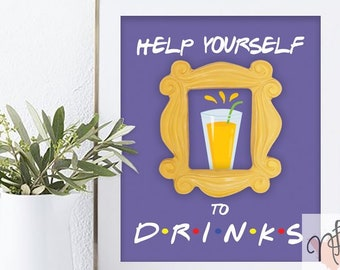 Friends TV Show Food /& Drink Signs Friends Party Food and Drink Signs Friends Party Food Signs AWD-10 Friends Ross Margarita Sign