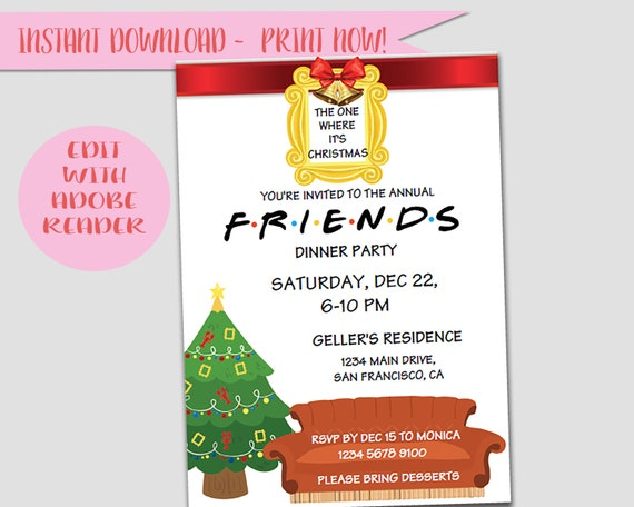Friends Tv Show Christmas Party Dinner Friends Theme Invites Feast Winter Holiday Card Instant Download Invitation