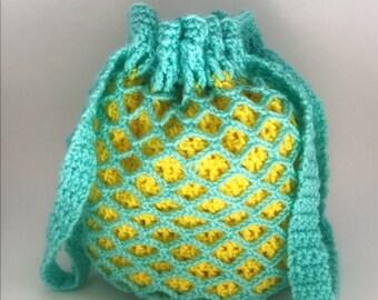 Crochet Drawstring Handbag