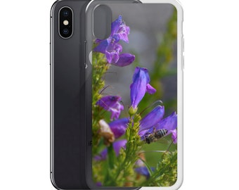 Purple Flowers and a Bee iPhone Case
