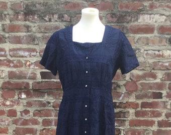 Navy Blue Eyelet Dress With a Row of Rhinestones