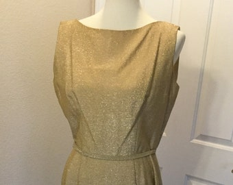 65b9a085efe Union Tag Gold 1950 s Bombshell Dress