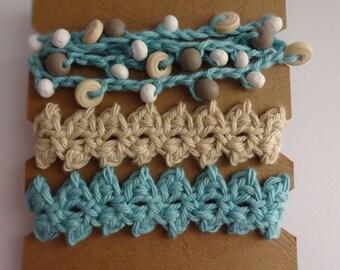 Crocheted Beaded Bracelet Trio