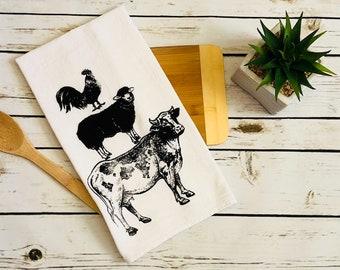 Farmhouse Flour Sack Tea Towel |  Housewarming Gift | Tea Towel | Flour Sack Towel