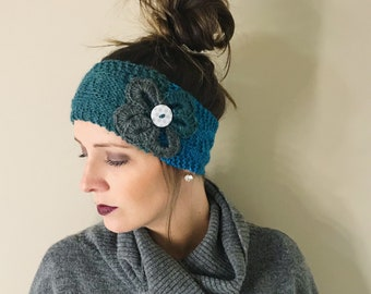 39263ad64adfc Teal and Gray Ear Warmer