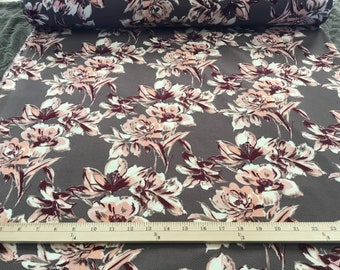 Dress Fabric, By the yard, Floral Peach on Grey