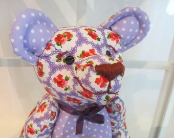 Purple Floral Teddy Bear