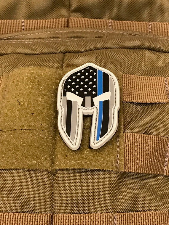 Thin Blue Line Spartan Helmet (PVC) Patch