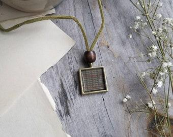 Plaid Pendant Necklace