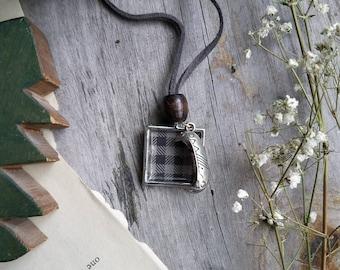 "The ""Lumberjack"" Gray Plaid Pendant Necklace"