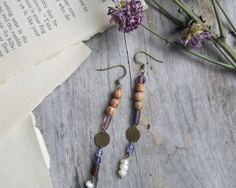 Bamboo, Glass, Pearl and Brass Dangle Earrings