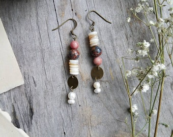 Picasso Jasper, Pearl and Brass Earrings