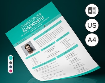 Resume Template | Modern & Professional Resume CV Template for Word | CV Resume + Cover Letter + Ref | 2 Pages | 4 Colors | Instant Download