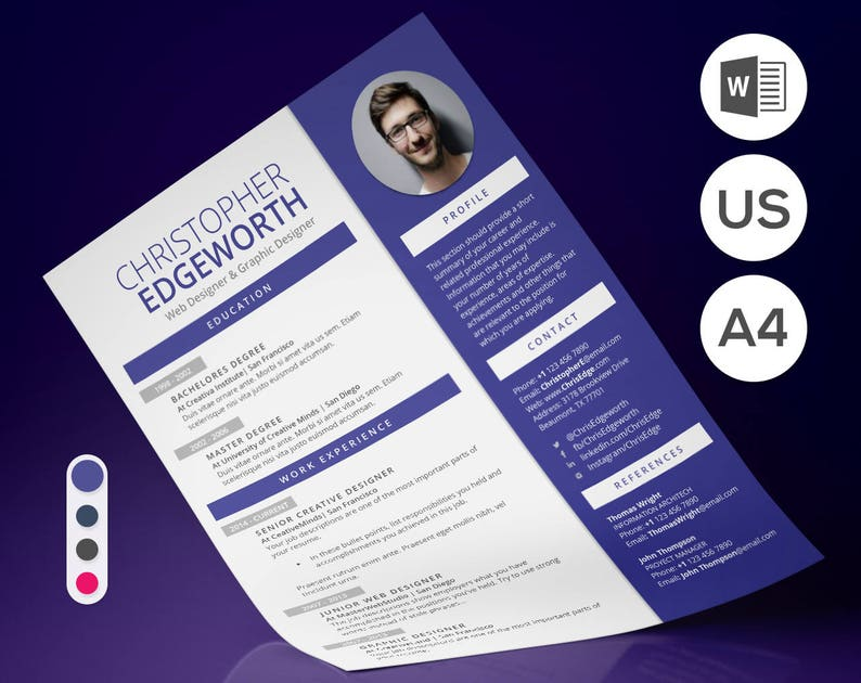 Modern Resume Template Clean For Word Eye