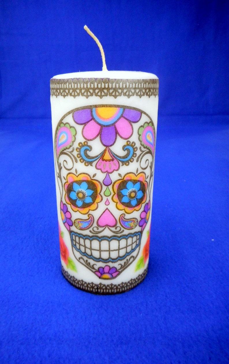 Sugar Skull Candle Skull Decor Christmas Skull Gift   Etsy