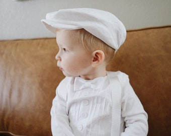 de9ef4e43 Baby Boy Hat, Scally Cap, Newsboy Hat, White for Baptism, Christening,  Blessing