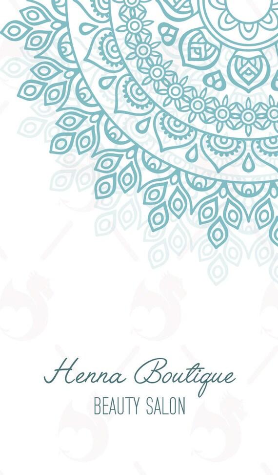 Business Cards Blue Henna Business Card Design Premade Etsy