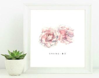 "Watercolour Print ""Spring 春日"" 8x8 - Wall art, prints, art prints, watercolour, botanical art, home decor, minimalist, giclee. customizable"