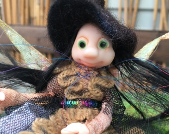 Black fairy in a cap and embroidered dress, Ready to Ship, Poseable tiny fairy doll, Needle felted Soft sculpture, Polymer clay doll