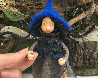 Dark Pixie fairy with a magical potion, Ready to Ship, Fantasy Figurine, Poseable tiny fairy doll, OOAK art doll, Polymer clay doll