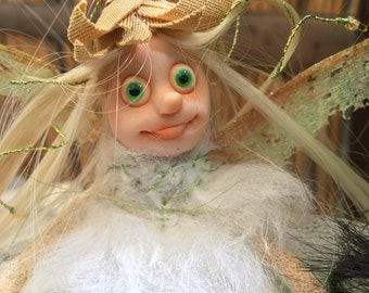 White fairy in a golden cap, Ready to Ship, Poseable tiny fairy doll, Needle felted Soft sculpture, Polymer clay doll