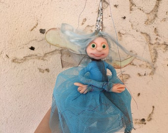 Blue fairy in a silver cap and blue hair, Ready to Ship, Poseable tiny fairy doll, Needle felted Soft sculpture, Polymer clay doll
