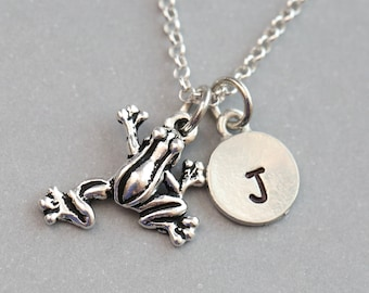 Frog Necklace, Gift for Frog Lover, Gift for Frog Collector, Personalized Necklace, Initial Necklace, Tree Frog Necklace, Frog Gift
